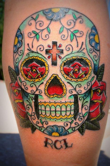 27 best sugar skulls images on pinterest sugar skulls for Cross tattoo on forehead meaning