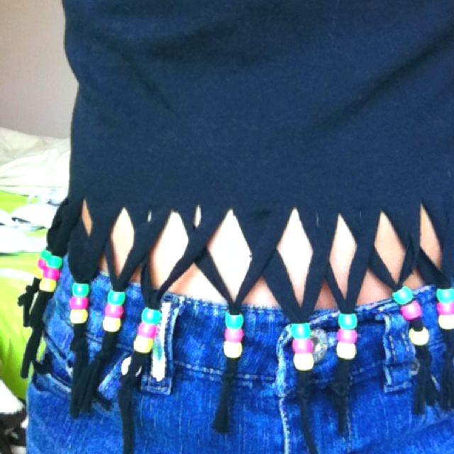 Beaded fringe shirt. Love the cross-beads:)