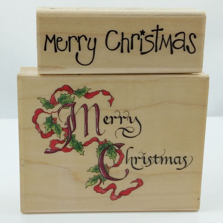 Lot/2 MERRY CHRISTMAS Greeting Word Stamps Wood Mount Rubber Stamps Calligraphy #Stampabilities