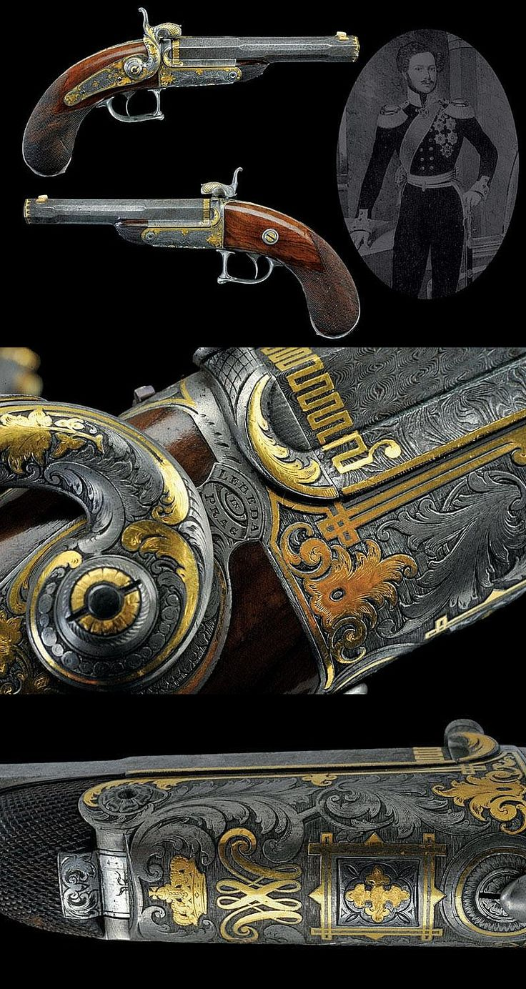 An extraordinary pair of Lebeda pin-fire pistols from the property of William duke of Brunswic, Prague, ca 19th century.