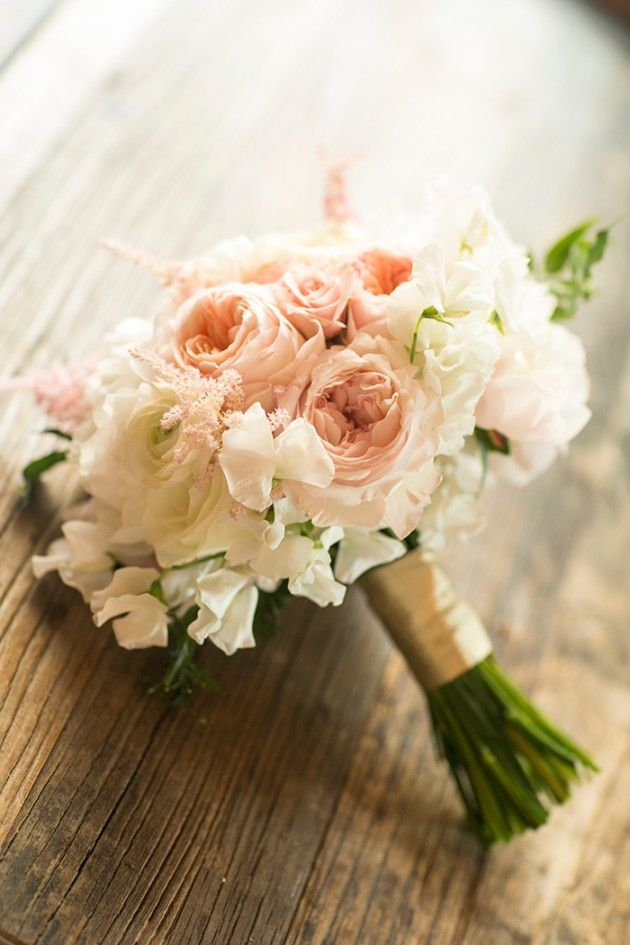blush and ivory bouquet featuring sweet peas, roses, ranunculus and astilbe by Stella Bloom Designs