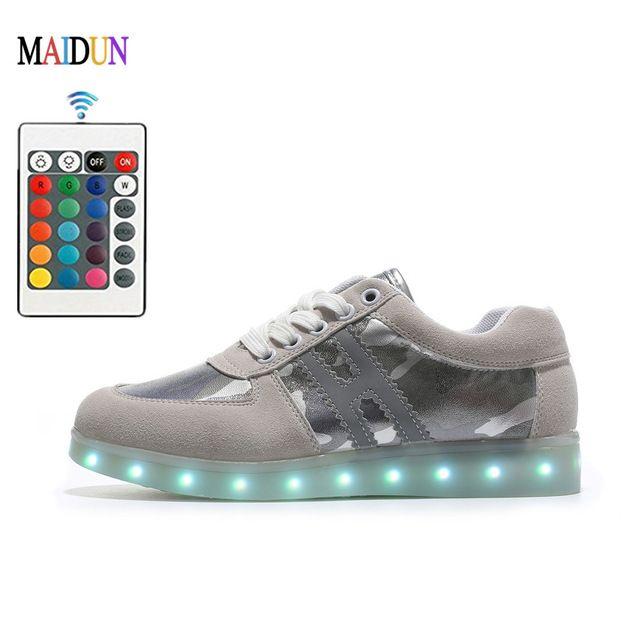 Unisexe chaussures colorées LED lumineux Couple USB de Souliers simples de charge Flashing Lights Sneakers GNioa0T