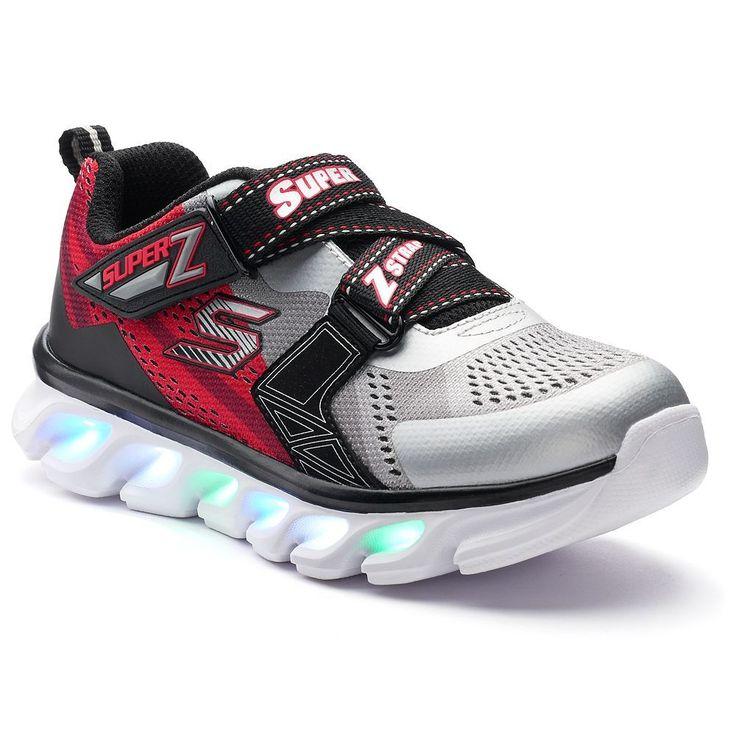 Skechers S Lights Hypno-Flash Boys' Light-Up Shoes, Size: 12, Beige Over