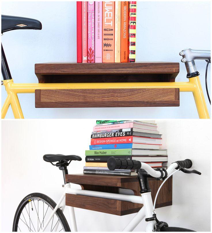 10 Gave manieren om je fiets thuis op te bergen - #1 The (Original) Bike Shelf Chris #Brigham is bedenker en ontwerper van deze #Bike #Shelf, waarmee je je #fiets op een elegante en ruimtebesparende manier kunt ophangen. Dit gepatenteerde product is in twee maten verkrijgbaar en in de #houtsoorten #walnoothout of #essenhout. In 2011 ontving Chris Brigham de #Dwell Modern World #Award voor zijn #ontwerp ontwerp in de categorieën 'Play Category' en 'People's Choice'.