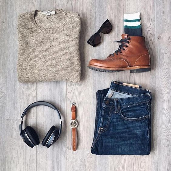Men's outfit grid - tan cashmere sweater