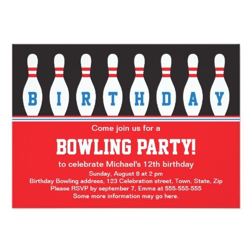 432 best Bowling Birthday Party Invitations images on Pinterest - bowling invitation