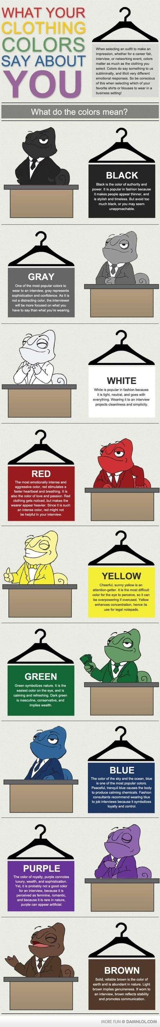 What Your Clothing Colours Say About You.  | #infographics repinned by @Piktochart