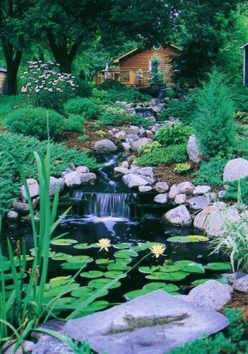 Yes, I love this!Gardens Ponds, Backyards Waterfall, Traditional Landscapes, Woodland Gardens, California Waterscape, Water Features, Front Yards, Los Angels, Landscapes Design