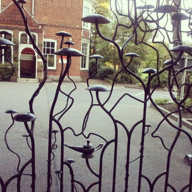 Wouldn't mind going back to school if the gates were as welcoming as these I saw in Cambridge when passing St Faith's School.    These stunning gates are the work of local sculptor, Matthew Lane Sanderson.: Garden Ideas, Beautiful Gates, Gardening Ideas, Garden Gates, Doors Gates, Metal Gates, Gates Doors, Doors Windows Gateways, Fences Gates