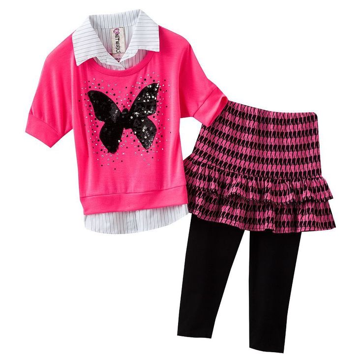 NWT Knitworks Mock-Layer Butterfly Neon Top & Skirted Leggings Set L (14) #Knitworks #Everyday