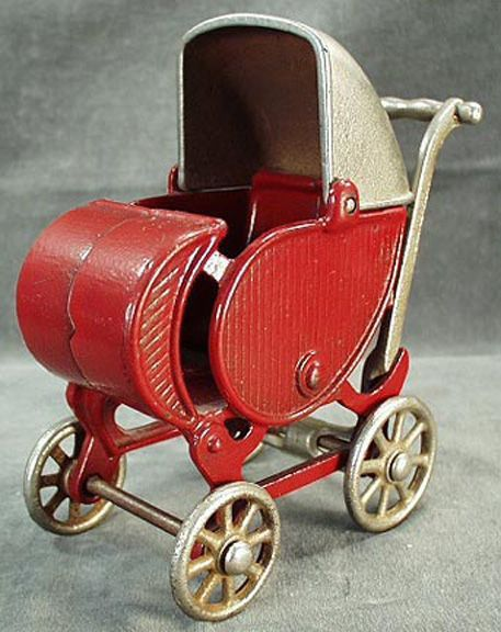 *OLD CAST IRON TOY BABY BUGGY ~ Large Size, probably   made by Hubley although some have attributed it to Kilgore.