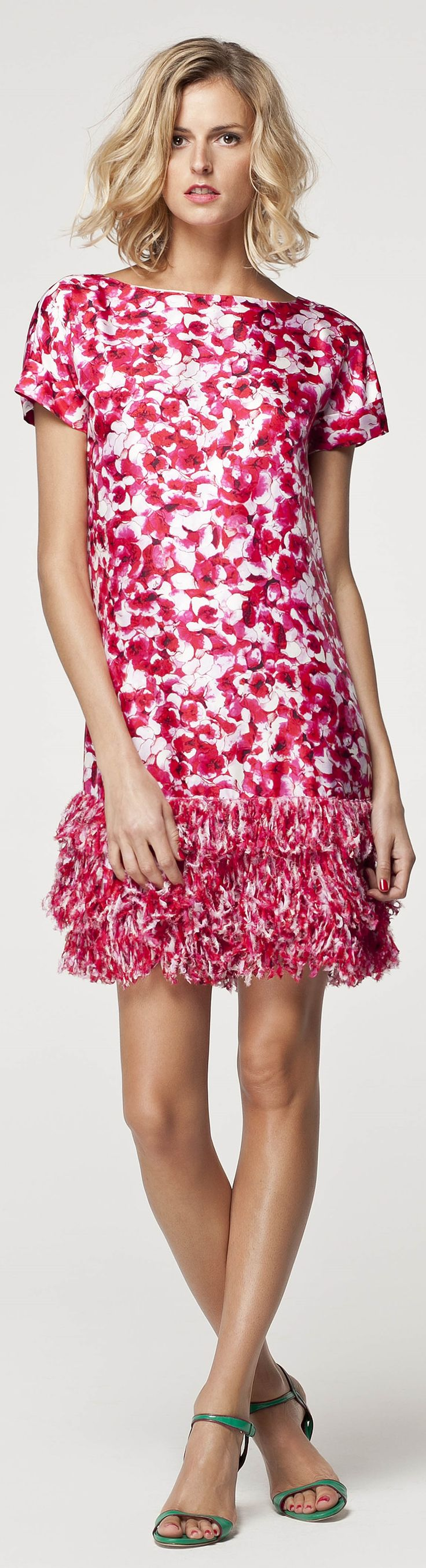 Carolina Herrera floral white and pink dress women fashion outfit clothing style apparel @roressclothes closet ideas
