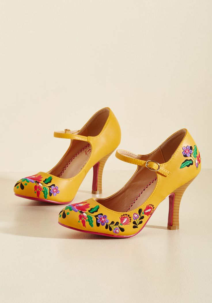 Sass With Flying Colors Heel in Mango. You make exceptional style all your own by rocking these faux-leather pumps from Banned! #yellow #modcloth