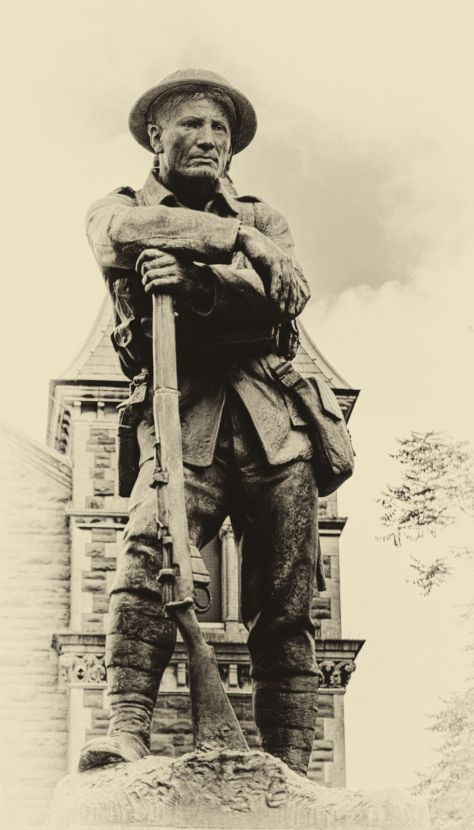 First World War Soldier Leaning On His Lee Enfield Rifle. Abergavenny War Memorial.