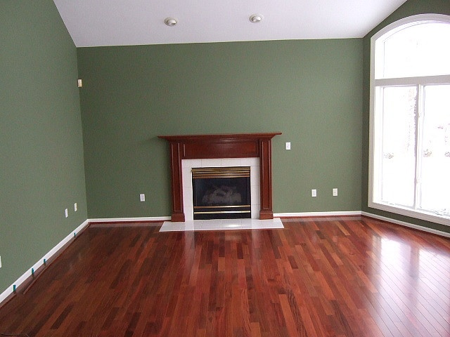 [Real Homes] Green living room: Benjamin Moore& & Ba… green living room and dark  wood floors. ... - 25+ Best Ideas About Cherry Wood Floors On Pinterest Cherry