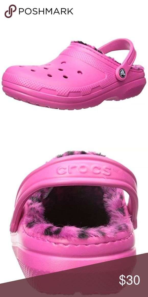 🆕List! Pink Croc Fur Lined Clogs! NEW! Candy/berry pink Crocs! Animal print faux fur. Heel height 1.25 inches, platform height 0.75 inches. Size women's 13. New in box. CROCS Shoes Mules & Clogs
