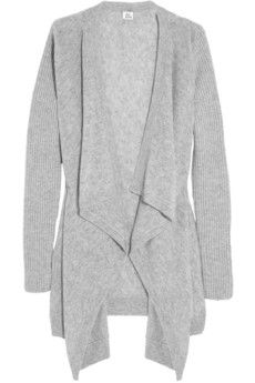 Iris & Ink - Ribbed-sleeve draped cashmere cardigan