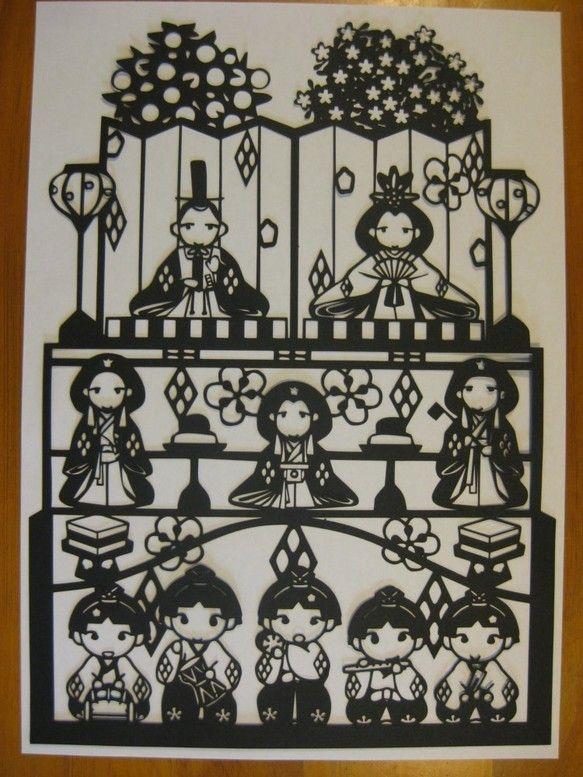 切り絵 ひな祭り三段飾り ひな祭り デザイン 切り絵 ひなまつり デザイン