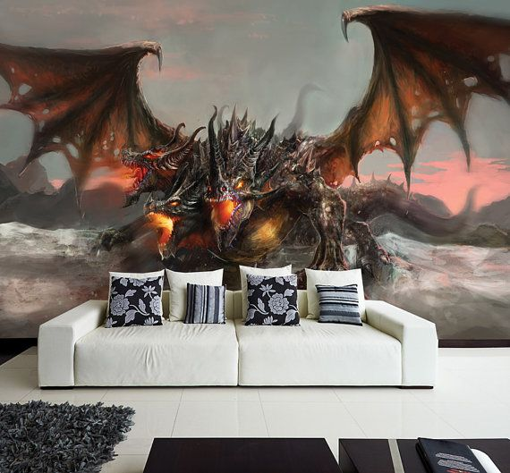 1000 images about home wants on pinterest contemporary for Dragon mural wallpaper