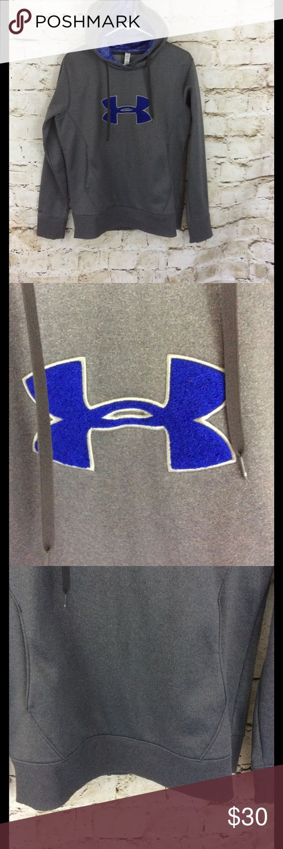 """Under Armour Cold Gear semi fitted women's hoodie Cold Gear women hoodie like new condition very warm and cozy!  Kangaroo pockets. Purple raised fuzzy logo and purple lined drawstring hood 20"""" across from armpit to armpit and 25""""long from shoulder to the hem, fleece lined Under Armour Tops Sweatshirts & Hoodies"""