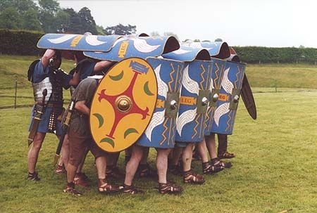 The tortoise formation was one of the prime examples of Roman ingenuity at warfare. When deployed in such a way, the legionaries became virtually invulnerable to arrows or objects dropped from defensive walls.