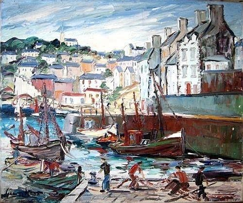 George Hann three oils, River and harbour scenes, signed, 20 x 24 ins.