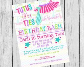 Tutus And Bow Ties Birthday Invitation By