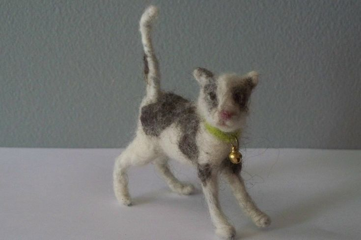 Gray and white  Kitten   Needle Felted cat. $22.00, via Etsy.