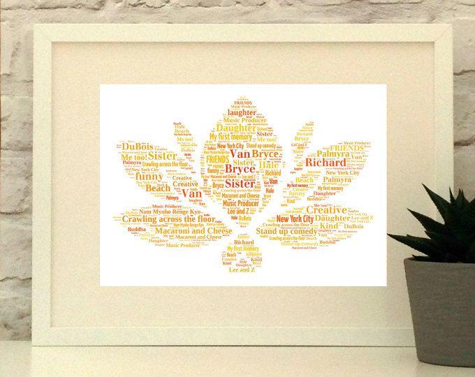 Lotus Flower Personalised Print - Yoga Gift, Botanical Wall Art, Flower Wall Decor, Modern Flowers Print, Lotus Wall art, Nature Print