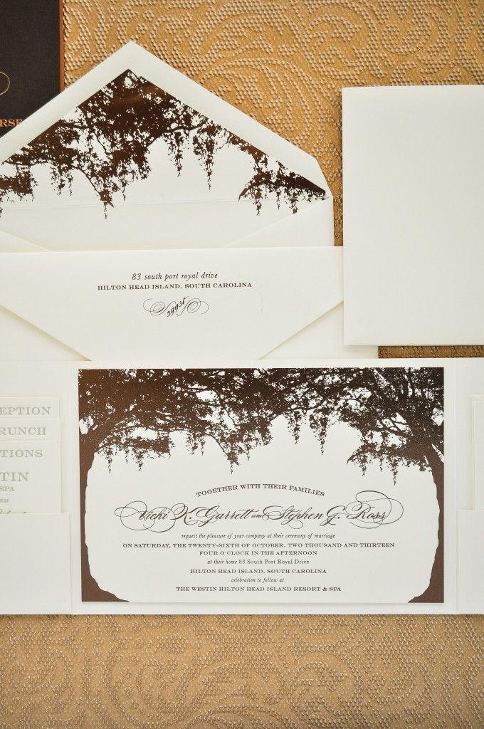 Low Country Bronze Wedding Invitations { Custom Wedding Invitation and Couture Monogram }   Emily McCarthy Weddings