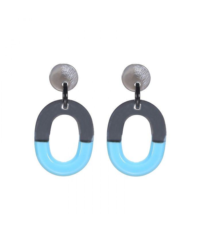 Mooie blauwe oorbellen met ovale hangerDe lente van de oorbel is 5.50 cm | Yehwang fashion en sieraden