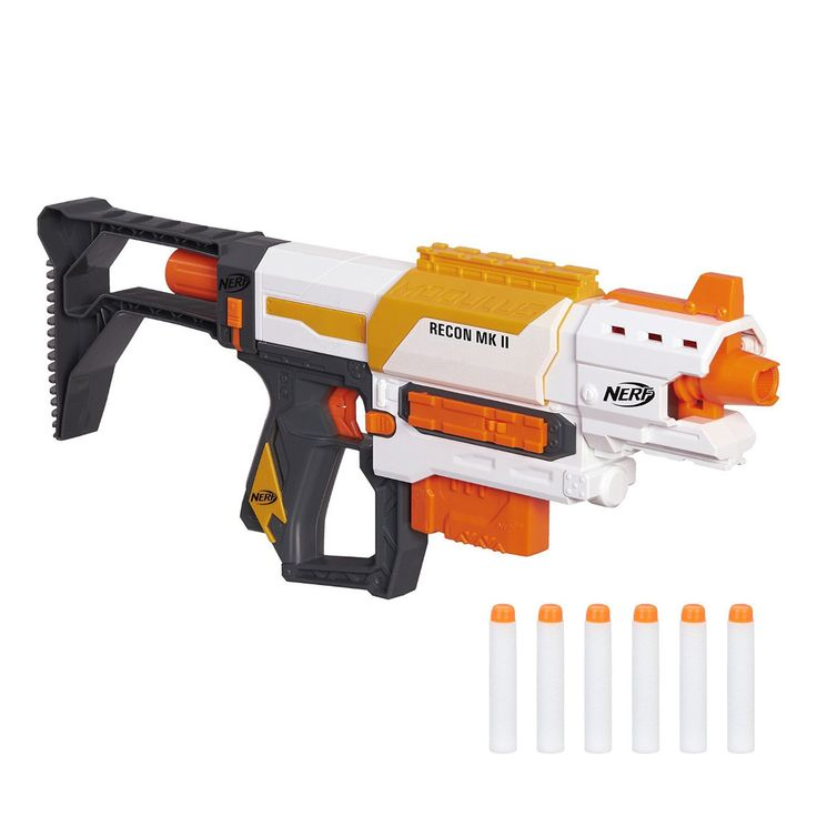 Boys can build their own blaster for each mission or battle with the Nerf Modulus Recon MKII blaster from Hasbro! Customize the blaster with the stock and barrel extension to create 4 different versio