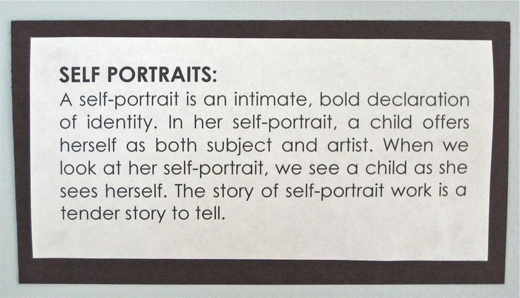 interesting insight into self portraits...and other documentation examples.