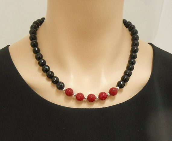 Faceted black onyx and red jade necklace with by SilverSerenade