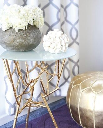 """Bailee Madison Gets a Glam Garage Hangout! """"She wanted a glamorous, feminine, and playful space. We pulled that off with Mongolian fur, gold metallic tones, high contrast, and bold pattern."""""""