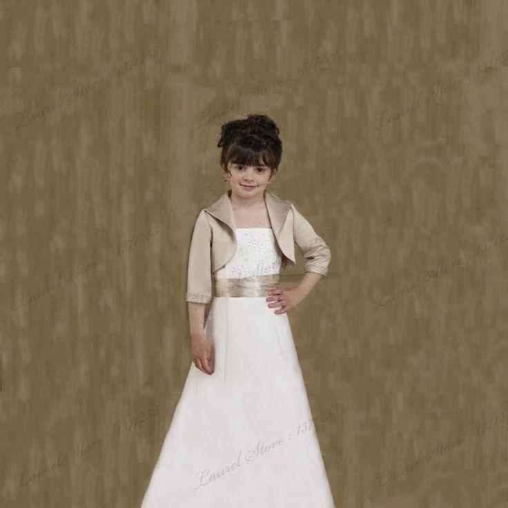 Ребенок девушки свадебные куртки из бисера люкс болеро атласа 3/4 с длинными рукавами свадебное шали мыс куртка обертывания свадебный мысы куртка(China (Mainland))