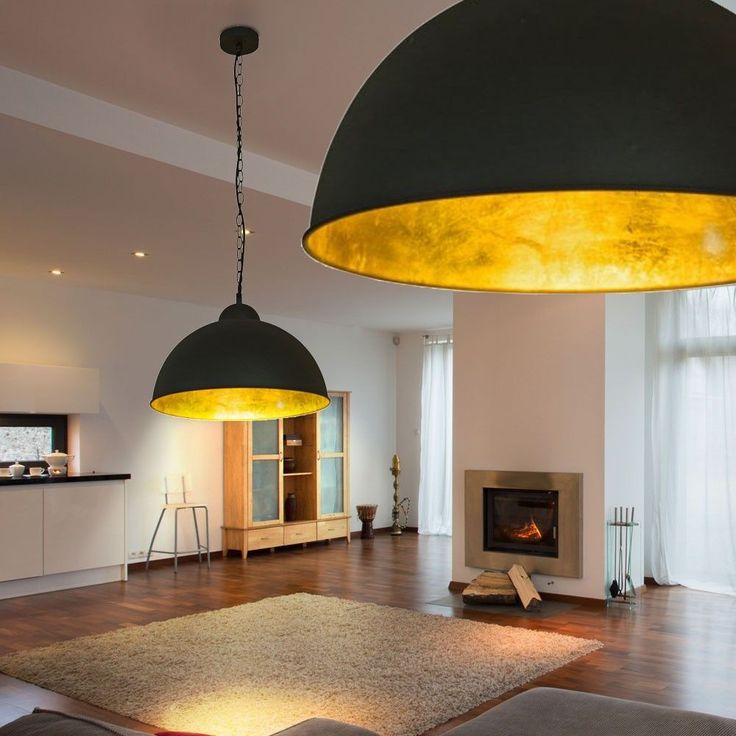 LED+Decken-Lampe+Ø40+cm+Schwarz+Gold+Loft+Design+Industrie+Fabrik+Hänge+Leuchte