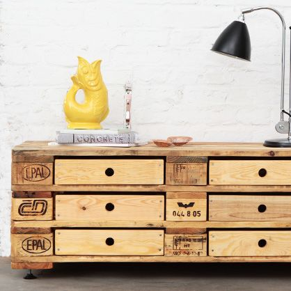 Chest of Drawers - White/ Wooden colour/ Black   https://monoqi.com/en/store/recycling-chic-aus-paletten-04/kommode-schwarz.html     Recycling-Chic aus Paletten von kimidori