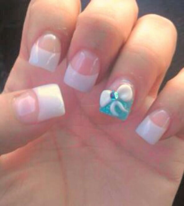 Cute blue bow acrylic nails :) | Cute things. | Pinterest