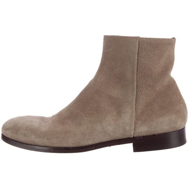 Pre-owned Alexander McQueen Suede Ankle Boots ($325) ❤ liked on Polyvore featuring men's fashion, men's shoes, men's boots, grey, mens grey suede shoes, mens zip boots, mens gray boots, mens zipper boots and mens suede ankle boots
