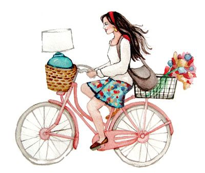 Lady Poppins | Girl on Bicycle Watercolor Painting | for ChiHouse | by Heatherlee Chan