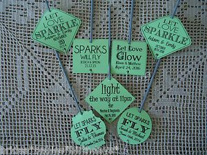 Kraft-Green-Wedding-Favour-Gift-Tags-Sparklers-Bomboniere-PERSONALISED-Vintage