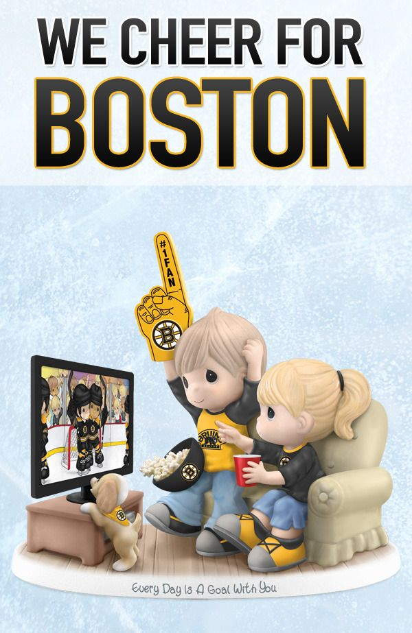 If you love Bruins hockey as much as you love your sweetheart, this Precious Moments Boston Bruins figurine is for you. Officially licensed by the NHL, it is painted by hand so no two are ever alike. Go Bruins!