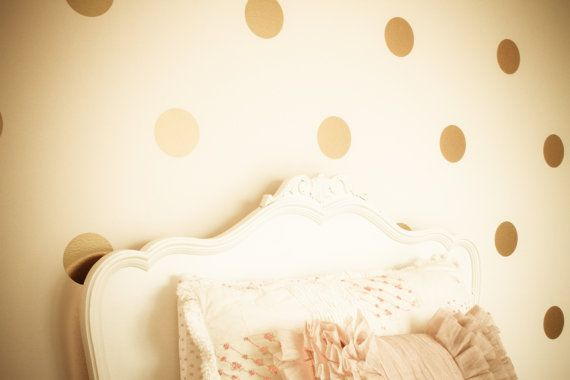 Gold polka dot decals. SO CUTE!! http://etsy.me/S9u5cY