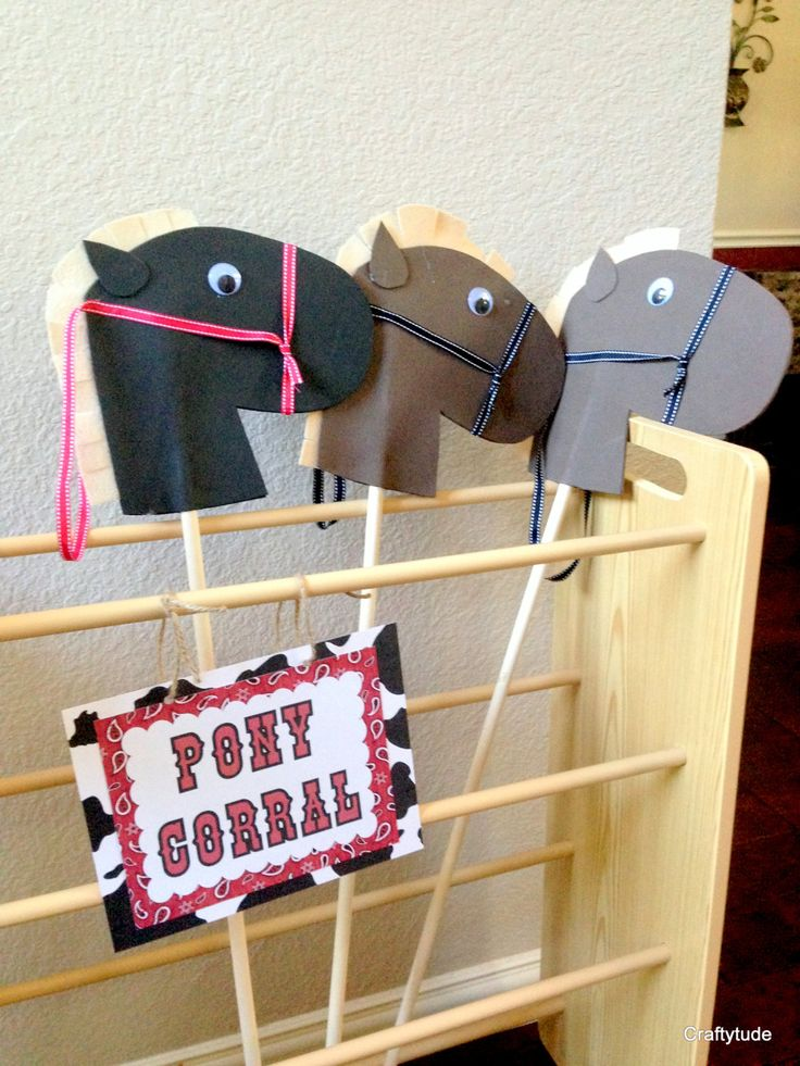 Hobby horse heads set of 4 DIY Stick Horse head Cowboy Party