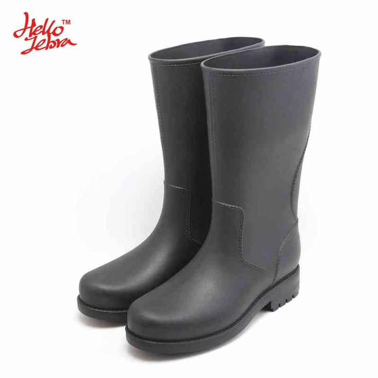 HelloZebra  All-Terrain Men's Rain Boots  Anti-skid Wear Resistant Waterproof Rain Boots Mid-calf Rain Shoes For Fishing free shipping worldwide