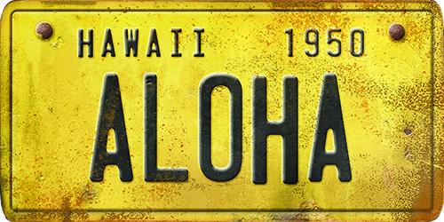 Hawaii License Plate Aloha ,Hawaii License Plate Aloha, Spicher and Company, Classy, Sign