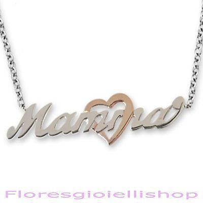Collana Mamma in argento 925 con cuore dorato in oro rosa. Festa della mamma