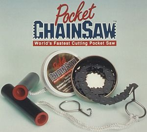 The pocket chain saw is the ultimate quick cutting portable compact hand chain saw. It's assembled in seconds and can be easily placed back in the can for convenient storage.
