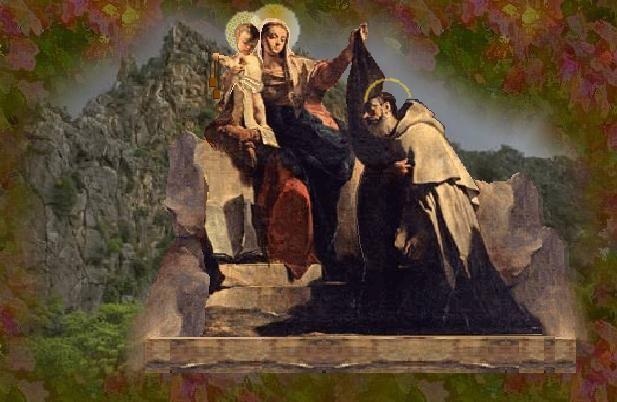 Bunda Maria memberikan Skapulir Coklat (Brown Scapular) kepada Santo Simon Stock pada tahun 1251. Skapulir/Scapular pada awalnya adalah jubah panjang yang dikenakan oleh para rahib.